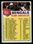 1973 Topps Football Team Checklists #5   Cincinnati Bengals Front Thumbnail