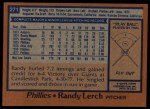 1978 Topps #271  Randy Lerch  Back Thumbnail