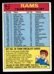 1974 Topps Football Team Checklists #13   Rams Team Checklist Front Thumbnail