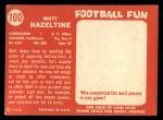 1958 Topps #100  Matt Hazeltine  Back Thumbnail