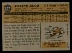 1960 Topps #287  Felipe Alou  Back Thumbnail