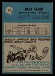 1964 Philadelphia #79  Bart Starr  Back Thumbnail