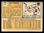 1963 Topps #454 WHI Art Fowler  Back Thumbnail