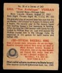 1949 Bowman #38  Emil Verban  Back Thumbnail