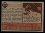 1962 Topps #156 GRN Merritt Ranew  Back Thumbnail