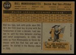1960 Topps #544  Bill Monbouquette  Back Thumbnail