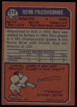 1973 Topps #313  Remi Prudhomme  Back Thumbnail