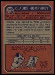 1973 Topps #200  Claude Humphrey  Back Thumbnail
