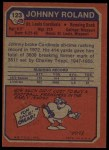 1973 Topps #123  Johnny Roland  Back Thumbnail