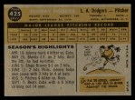 1960 Topps #425  Johnny Podres  Back Thumbnail