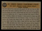 1960 Topps #468   -  Johnny Keane / Howie Pollet / Ray Katt / Harry Walker Cardinals Coaches Back Thumbnail