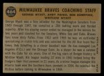1960 Topps #464   -  Bob Scheffing / Whitlow Wyatt / Andy Pafko / George Myatt Braves Coaches Back Thumbnail