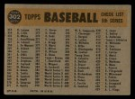1960 Topps #302   Phillies Team Checklist Back Thumbnail