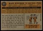 1960 Topps #291  Bob Keegan  Back Thumbnail
