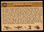 1960 Topps #260   -  Rocky Colavito / Tito Francona Power Plus Back Thumbnail
