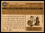 1960 Topps #263  Darrell Johnson  Back Thumbnail