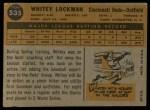 1960 Topps #535  Whitey Lockman  Back Thumbnail