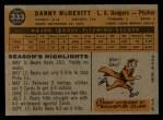 1960 Topps #333  Danny McDevitt  Back Thumbnail
