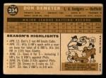 1960 Topps #234  Don Demeter  Back Thumbnail