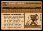 1960 Topps #203  Sammy White  Back Thumbnail