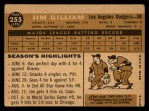 1960 Topps #255  Jim Gilliam  Back Thumbnail