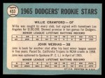1965 Topps #453   -  Willie Crawford / John Werhas Dodgers Rookies Back Thumbnail