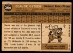 1960 Topps #206  Claude Osteen  Back Thumbnail
