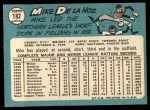 1965 Topps #182  Mike de la Hoz  Back Thumbnail