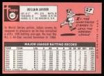 1969 Topps #497  Julian Javier  Back Thumbnail