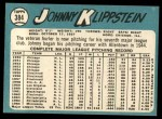 1965 Topps #384  Johnny Klippstein  Back Thumbnail