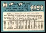 1965 Topps #148  Willie Kirkland  Back Thumbnail