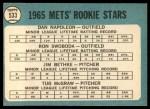 1965 Topps #533   -  Tug McGraw / Ron Swoboda / Jim Bethke / Dan Napoleon Mets Rookies Back Thumbnail
