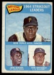 1965 Topps #12   -   Bob Veale / Don Drysdale / Bob Gibson NL Strikeout Leaders Front Thumbnail