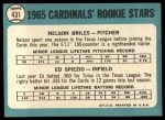 1965 Topps #431   -  Nelson Briles / Wayne Spiezo Cardinals Rookies Back Thumbnail
