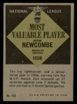 1961 Topps #483   -  Don Newcombe Most Valuable Player Back Thumbnail