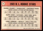 1969 Topps #624   -  Darrel Chaney / Duffy Dyer / Terry Harmon NL Rookies Back Thumbnail
