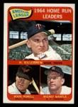 1965 Topps #3   -  Harmon Killebrew / Mickey Mantle / Boog Powell AL HR Leaders Front Thumbnail