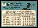 1965 Topps #472  Don Pavletich  Back Thumbnail