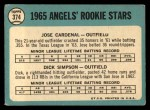 1965 Topps #374   -  Jose Cardenal / Dick Simpson Angels Rookies Back Thumbnail