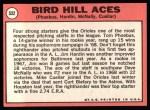 1969 Topps #532   -  Mike Cuellar / Jim Hardin / Dave McNally / Tom Phoebus Bird Hill Aces Back Thumbnail