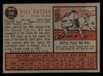 1962 Topps #298  Bill Tuttle  Back Thumbnail
