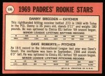 1969 Topps #536   -  Dave Roberts / Danny Breeden Padres Rookies Back Thumbnail