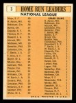 1963 Topps #3   -  Hank Aaron / Willie Mays / Frank Robinson / Ernie Banks / Orlando Cepeda NL HR Leaders Back Thumbnail