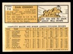 1963 Topps #114  Dan Osinski  Back Thumbnail