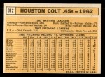 1963 Topps #312   Colt 45s Team Back Thumbnail