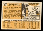 1963 Topps #363  Dick Radatz  Back Thumbnail