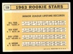 1963 Topps #558   -  Ron Hunt / Bill Faul / Al Moran / Bob Lipski Rookies   Back Thumbnail