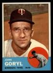 1963 Topps #314  John Goryl  Front Thumbnail