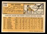 1963 Topps #319  Joe Gaines  Back Thumbnail