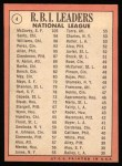 1969 Topps #4   -  Willie McCovey / Ron Santo / Billy Williams NL RBI Leaders Back Thumbnail